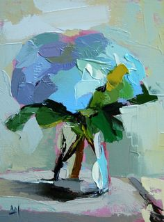 Hydrangeas no. 3 original floral still life oil painting by Moulton 9 x 12 inches on canvas