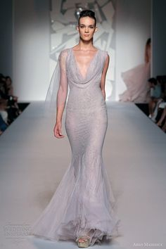 Abed Mahfouz fall 2012 couture: Wedding dress- mermaid gown cowl neck