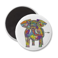 Rainbow Elephant, colourful design,for anyone. Refrigerator Magnets by www.zazzle.com/artistjandavies*