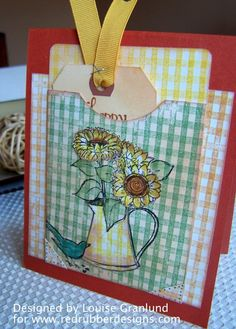 Sunflower Card ~*~ Sunflowers rubber stamp set ~*~ Gingham Background rubber stamp ~*~ from Red Rubber Designs www.RedRubberDesi...