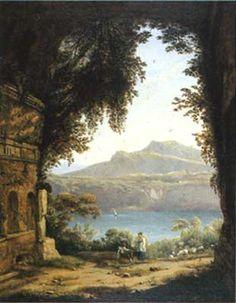 GIAN BATTISTA BASSI (Massa Lombarda, 1784 - Roma, 1852) Ninfeo del lago di Albano Olio su tela, (cm 36 x 47) Collezione Annarita Cucci Trinca