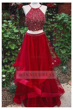 Classy Prom Dresses, Two Piece Prom Dress,Red Prom Dress,Backless Evening Dress,Long Prom Gown Prom Dresses Long Homecoming Dresses Long, Prom Dresses Two Piece, Long Prom Gowns, Backless Prom Dresses, Cheap Prom Dresses, Evening Dresses, Bridesmaid Dresses, Formal Dresses, Dress Long