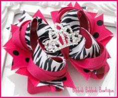 Shocking Pink Polka Dot Wild Princess Tiara Bow-shocking pink, tiara, princess, hair bows uk