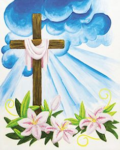 """Social Artworking Canvas Painting Design - Easter Cross Celebrate the spirit of Easter with this cross design. Whether at home with your family or as part of a church group, this design would be the perfect way to gather together for an afternoon of painting. CANVAS SIZE:  16"""" x 20"""" TIME TO PAINT:  approximately 3 hours"""