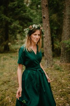 Long Summer Dresses, Summer Outfits, Dress Skirt, Wrap Dress, Beautiful Long Dresses, Green Wrap, Oeko Tex 100, Linen Dresses, Ethical Fashion