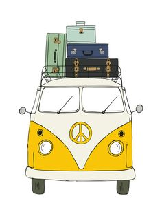 """The Peace Van on the Road"" - Art Print by Alston Wise in beautiful frame options and a variety of sizes."