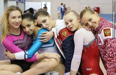 Russian gymnasts Daria Skrypnik, Seda Tutkhalyan, Aliya Mustafina, Angelina Melnikova and Daria Spiridonova