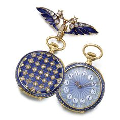PATEK PHILIPPE A LADY'S FINE AND RARE 18K YELLOW GOLD ENAMEL AND DIAMOND-SET OPEN-FACED PENDANT WATCH 1895 MVT 103254 CASE 215041