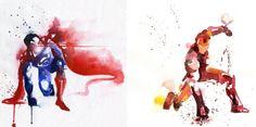 Les superhéros en aquarelle