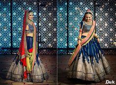 Bridal Lehengas - Royal Blue Lehenga | WedMeGood Royal Blue Lehenga with Gold heavy Embroidery and Red and Yellow Dupatta! #wedmegood #bridal #lehengas