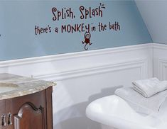 Splish Splash  there's a monkey in the bath by itswritteninvinyl, $13.99. I can't wait to get this for my kids bathroom!!
