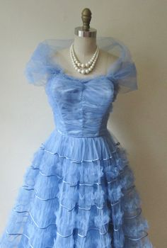 50's Prom Dress //  Vintage 1950's Strapless Periwinkle Tulle Prom Wedding Dress XS. 142.00, via Etsy.