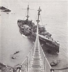 HMS Montagu wrecked on Lundy on 30May 1906 14,000 ton battlleship wrecked on Lundy in fog. The catwalk allowed salvage crews to board the vessel in all weather conditions.