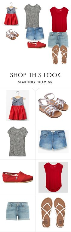 """""""Sisters"""" by taylia-huyser ❤ liked on Polyvore featuring MANGO, TOMS, LOFT, Paige Denim and Billabong"""