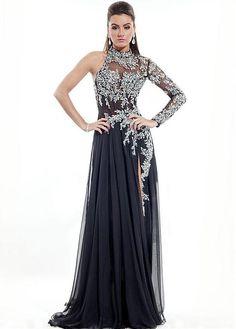 7554e8848a2 Charming Silk-like Chiffon High Collar Neckline Sheath Evening Dress With  Beadings   Rhinestones · Formal Evening DressesFormal PromEvening  GownsFormal ...