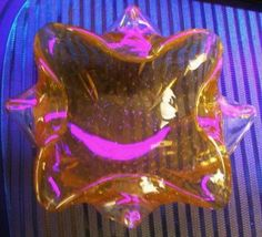 VINTAGE Authentic MURANO Bowl BULLICANTE Glass MANGANESE Rim GLOWS in BLACKLIGHT