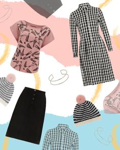 People Tree. Swallows Print Tee in Pink. Cassandra Shirt Dress. Uma Corduroy Skirt. Striped Hat. Double Bangle in Silver. AW16. www.peopletree.co.uk. via Tigerlilly Quinn