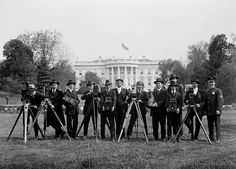 Press Correspondents and Photographers on White House Lawn, photographed by Harris & Ewing in 1918 on 5x7 glass plate negative.