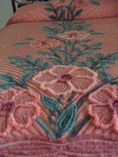 VINTAGE CHENILLE BEDSPREAD Plush RetRac Rare Colorway | eBay