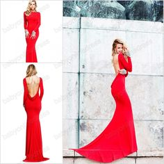 Sexy Open Back Beteau Red Women Floor length Evening Dresses Prom dresses Long Sleeves 2013 New arrival 113720 $142.99