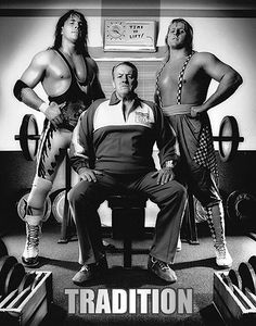 Stu Hart with his sons Bret & Owen.... This is an amazing photo of the true first family of wrestling!!!!!