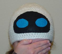 Crocheted EVE hat, from the Wall-E movie. Omg my son would just love this!!!