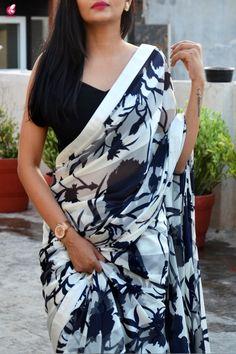 Buy Blue & White Printed Crepe Satin Taping Saree - Sarees Online in India Organza Saree, Chiffon Saree, Lace Saree, Net Saree, New Saree Designs, Fancy Blouse Designs, Black And White Saree, Fancy Sarees Party Wear, Kalamkari Dresses