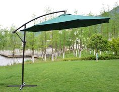 PatioPost Offset Hanging Patio Umbrella with UV Resistant Protect Cover Plant Lighting, Patio Lighting, Little Pool, Best Led Grow Lights, Offset Patio Umbrella, Colorful Plants, Patio Umbrellas, Landscaping Plants, Patio Design
