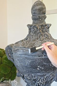 Faux cement paint treatment and recipe. Looks just like cement when it dries and can be done in any color.