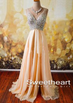 champagne chiffon sequin long prom dress for teens, modest prom dress, unique long prom dress #prom #promdress #coniefox #2016prom