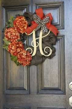Burlap Wreath Fall Wreath Fall Hydrangea by theembellishedhome by shelley