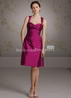 magenta taffeta knee length a line bridesmaids dress