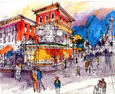 """This part two of the """"Disneyland Paris that never was"""" articles series is all about Main Street U. It's not very known, but at Disneyl. Walt Disney Imagineering, Walt Disney Co, Old Disney, Disney Art, Disneyland Paris Christmas, Disney Concept Art, Disney Sketches, Parking Design, Historical Images"""