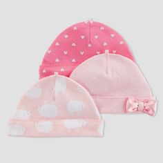 db547b87060 Baby Girls  3pk Caps - Just One You® made by carter s Pink Sheep 0-3M