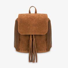 Khaki Fringe Backpack with Foldover Flap - US$23.95 -YOINS