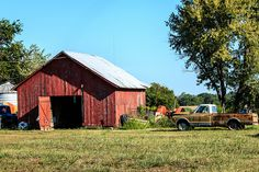 barn and pickup