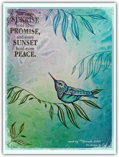 'Mir'acle Art Inspirations: using Designs by Ryn: Perching Hummingbird on Striped Reed Set (stamps)