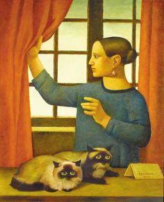 """Reynaldo Fonseca (Brazilian, b. 1925) - """"Companheiros de Casa"""" (Housemates), 2003 - Oil on canvas"""