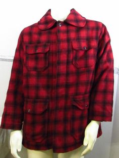 Woolrich Wool Hunting Coat 42 Mackinaw 523  Plaid Pocket Insulated WPL6635 #Woolrich #Outdoor