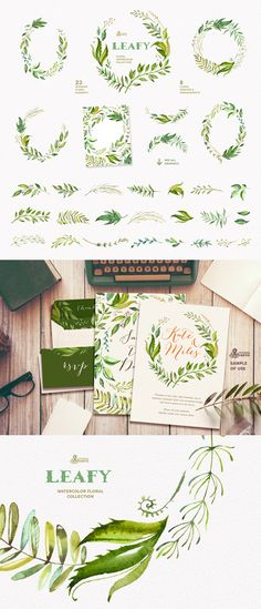 Leafy - Watercolor Floral Collection  -  https://www.designcuts.com/product/leafy-watercolor-floral-collection/