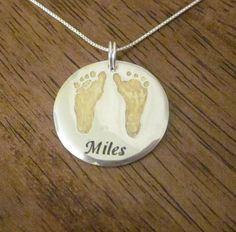 GOLD and Silver Baby Footprint Pendant Made from YOUR Baby's Foot Prints