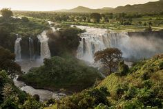 """Blue Nile Falls, a waterfall on the Blue Nile river in northern Ethiopia. It's called Tis Abay in Amharic, which translates to """"Smoking Water"""".     Photo by Georges Courreges."""