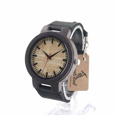 BoboBird C023 Mens Black Sandal Wooden Bamboo Watches Luxury Wooden Bamboo Watches With Leather Quartz Watch