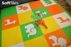 SoftTiles Foam Mats for Babies Learning to Crawl. Safari Animals Play Mats make a beautiful playroom floor.