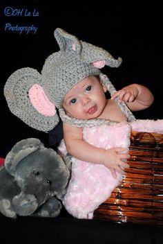 Hand crocheted elephant beanie/costume/photo by twoneedlesandahook, $25.00