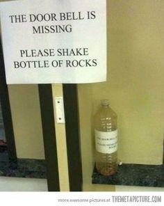 funny doorbell bottle rocks poor people