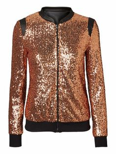 MANJA L/S SEQUINCE JACKET #noisymay #glitter #gold #jacket #party @VERO MODA