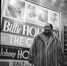 billie holiday | Lady Day herself, Billie Holiday, is photographed in front of a large ...