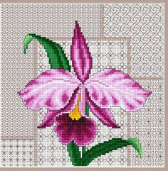 Please Share0000Stunning Cross Stitch Orchid Surrounded By Lacy Blackwork Here is another combination piece using blackwork and cross stitch. The lacy blackwork frame accents the brightly-colored cross stitch orchid to create a finished piece you'll be proud to show off. Go here to get the chart to create one of your own. Happy Stitching! Photo …