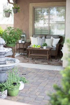 Great Ideas for your courtyard! Stone pavers, green plants and cozy furniture! From Just Destiny Mag!